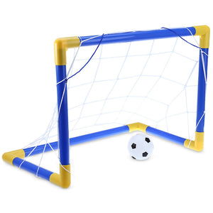 Mini Football Soccer Goal Post Net Set with Pump Indoor Outdoor Kids Sport Toy - Trendeinblick.com