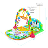 Baby Piano Fitness Mat Newborn Educational Toy with Light / Music / 4 Animal Cartoon Rattles / 1 Small Mirror