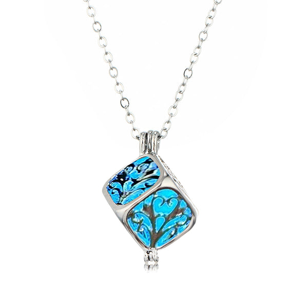 Charm Silver Cube Light Necklace Women Glowing Pendant Jewelry - Trendeinblick.com