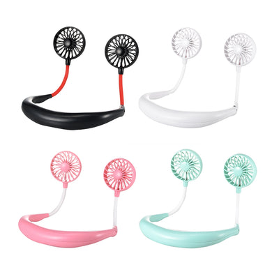 Hand Free Neckband Portable USB Rechargeable Hanging Neck Mini Wearable Fan - Trendeinblick.com