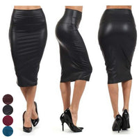 High Waist Classic Faux Leather Pencil Skirt - Trendeinblick Inc