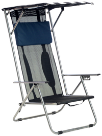Beach Recliner Shade Folding Chair - Navy/White