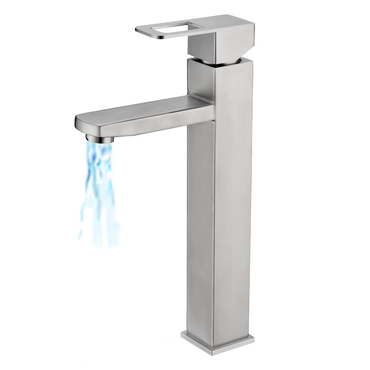 Single Lever Tall Square Basin Mixer Brushed S/Steel SSF-4