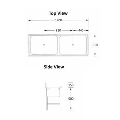 Sink Double Pot 1700mm 0.9mm 430 S/S With Mild Steel Legs SDSN9023O7