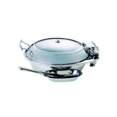 CHAFER INDUCTION ROUND 'SMART' WITH GLASS LID 18/10 S/STEEL (EXCLUDES SPOON) 435 x 505 x 202mm 6.5LtCIR0065