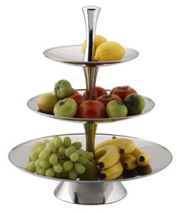 FRUIT STAND S/STEEL - 3-TIER 18/10 D375 x H530mm FTS0003