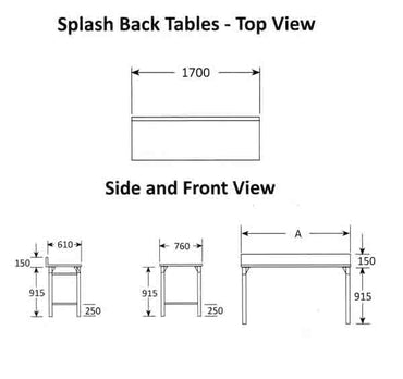 SPLASH BACK TABLE 2300MM MILD STEEL LEGS ECONO 9000 SDTA9005O7