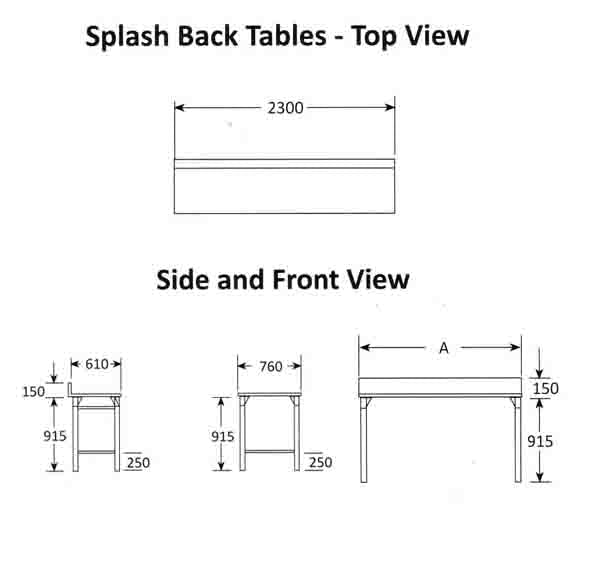 Splash Back Table 2300mm 0.7 mm 430 S/S With Mild Steel Legs Titan SDTA1005O7