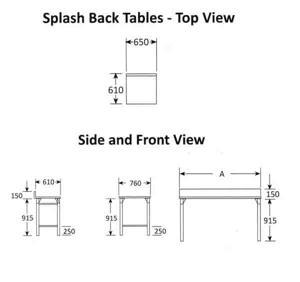 Splash Back Table 650mm 0.7 mm 430 S/S With Mild Steel Legs Titan SDTA1001O7 | Splash Back Table | wedoall.co.za