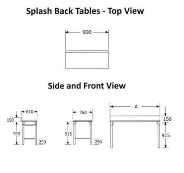 Splash Back Table 900mm 0.7 mm 430 S/S With Mild Steel Legs Titan SDTA1002O7 | Splash Back Table | wedoall.co.za