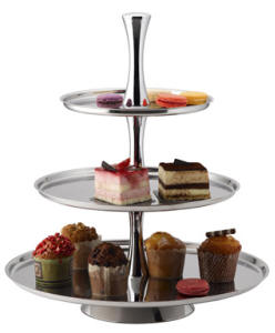 PASTRY STAND - S/STEEL - 3 TIER D438 x H495mm PTS0003