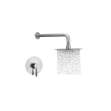 Round Shower Head, Arm & Mixer set – Brushed Stainless Steel SSS-1