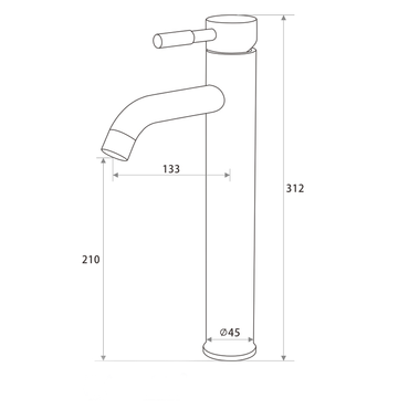 Single Lever Tall Round Basin Mixer Brushed S/Steel SSF-2