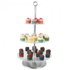 CAKE STAND CLEAR PLASTIC - 3 TIER 340 x 285 x 190mm  CSP2003