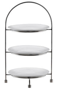 TEA CAKE STAND 3 TIER - 18/10 S/STEEL (27cm PLATES NOT INCLUDED) L256 x W256 x H421mm (TCS0027