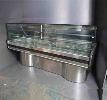 BaiBain Marie 6 Division Square Glass S/Steel Ext Ped 6DSGMSSEP