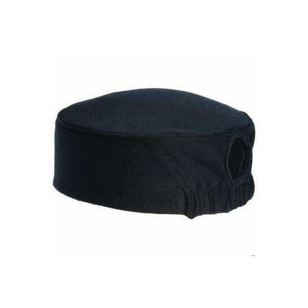 CHEFS UNIFORM - CHEFS EZI BREATHE HAT BLACK with internal sweat band and elastic back UNI5019