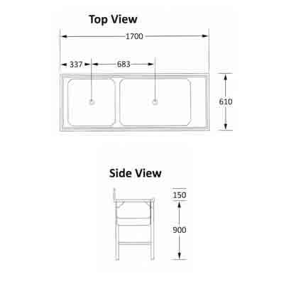 Sink Combination 1600mm 0.9mm 430 S/S With Mild Steel Legs Right  ECONO 9000 SDSN9027O7