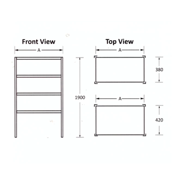SHELF SYSTEM STAINLESS STEEL 1150x420 mm  í - STORE SHNT1013O7 | wedoall-co-za.myshopify.com