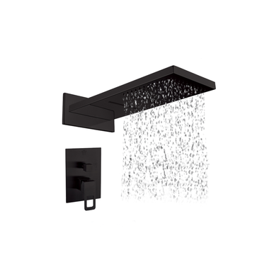 Square Wide Shower Head, Arm & Mixer set – Matt Black MBS-4