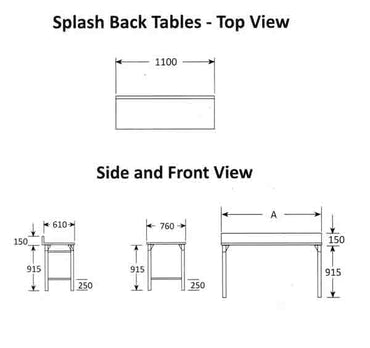 Splash Back Table 1100mm 0.7 mm 430 S/S With Mild Steel Legs Titan SDTA1003O7 | Splash Back Table | wedoall.co.za