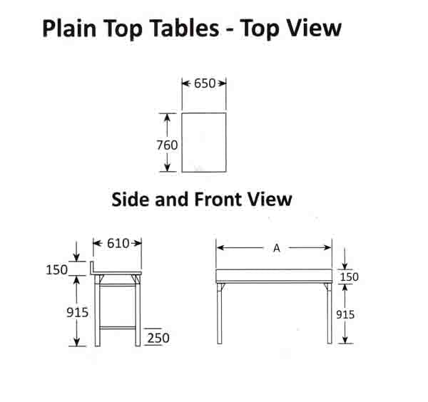 Plain Top Table 650mm 0.7 mm 430 S/S With Mild Steel Legs Titan SDTA1006O7