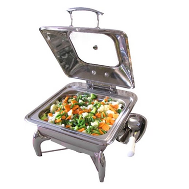 CHAFING DISH INDUCTION - SQUARE WITH GLASS LID 5.5Lt (Stand not included ) CDS4000