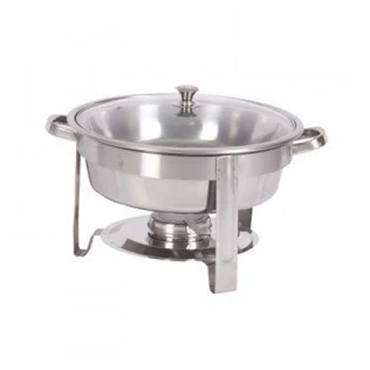 CHAFING DISH ROUND WITH GLASS LID - POLISHED 4Lt CDS1004