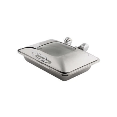 CHAFER INDUCTION RECTANGULAR 'SMART W' WITH GLASS LID 18/10 S/STEEL 581 x 435 x 210mm 8Lt CIR0008