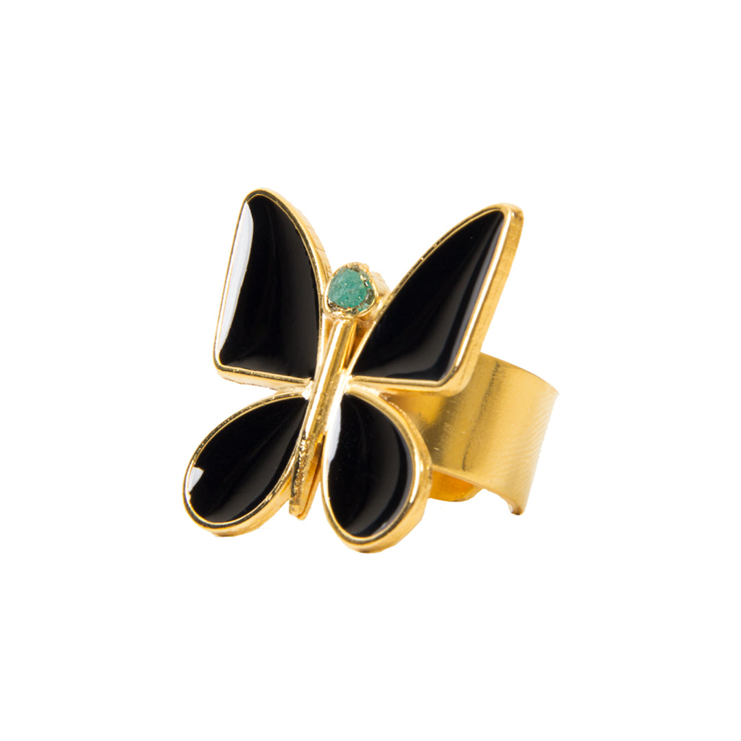 Black Butterfly Effect Fiore Collection Ring - TAO Company Jewelry by Vanessa Arcila