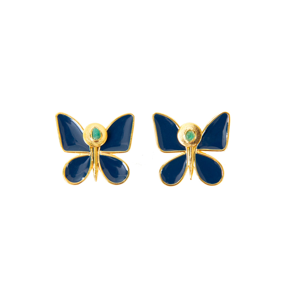 Blue Butterfly Effect Fiore Collection Earrings - TAO Company Jewelry by Vanessa Arcila