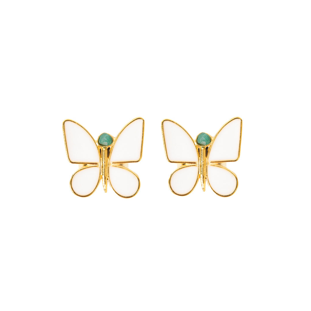 White Butterfly Effect Fiore Collection Earrings - TAO Company Jewelry by Vanessa Arcila