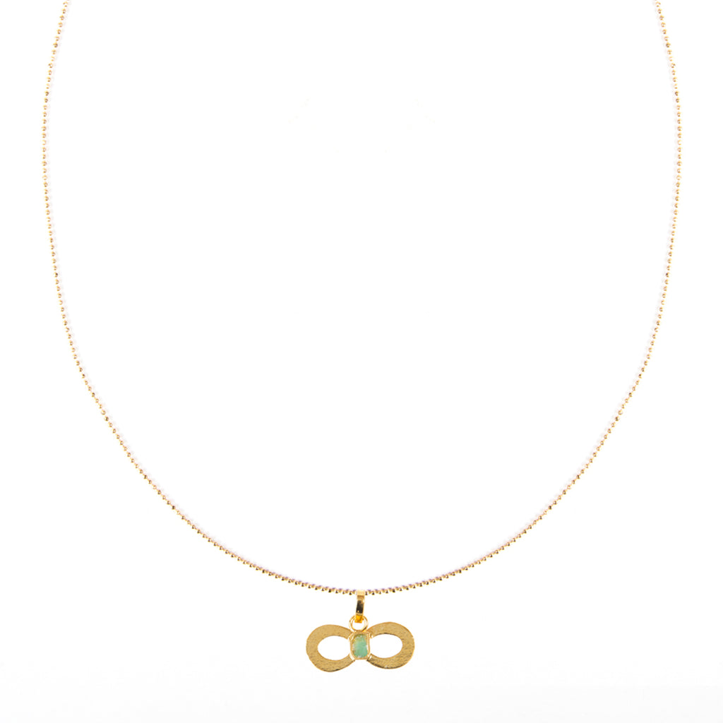 Infinite Pendant Raw Emerald Bronze & 24k Gold Plated Necklace