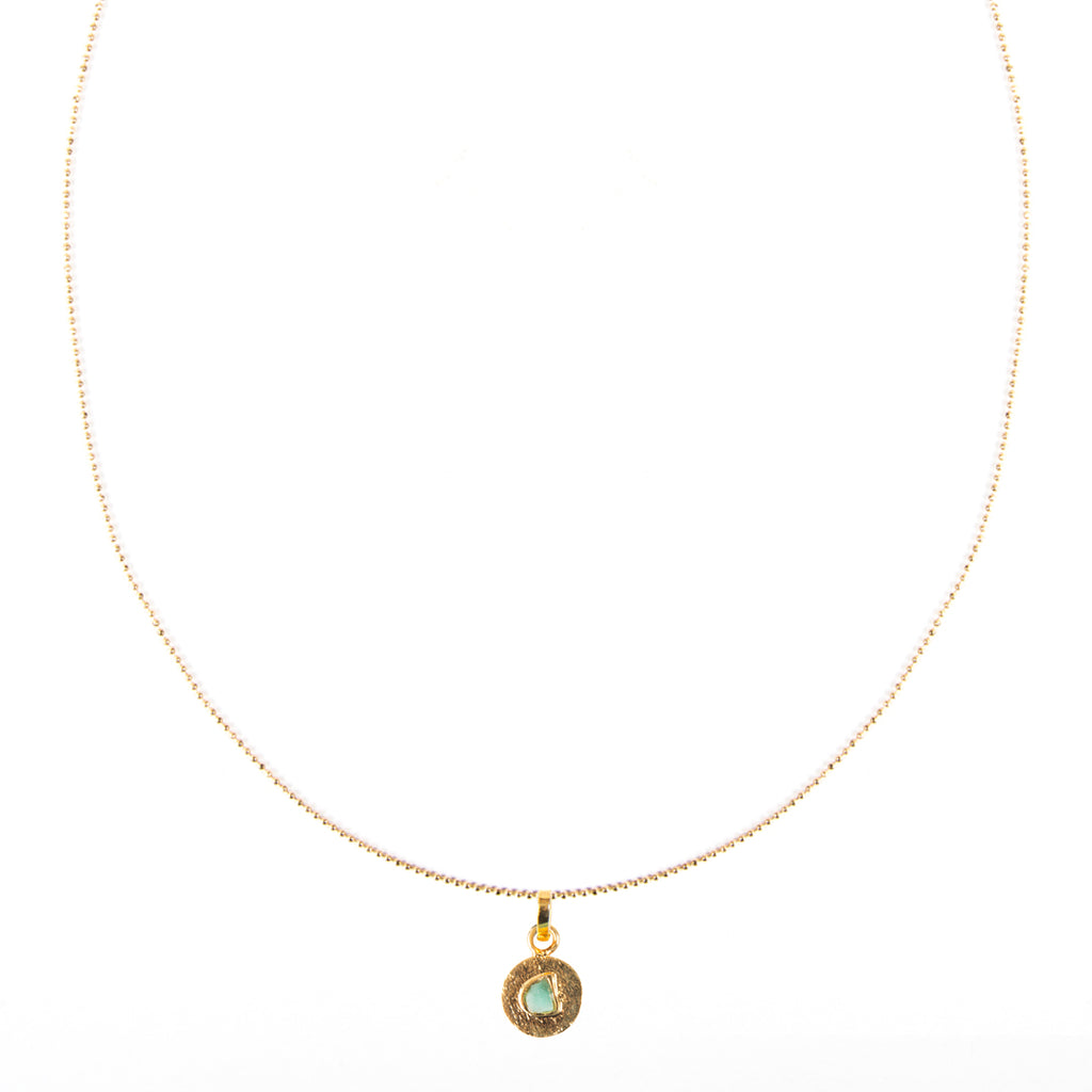 Circle Raw Emerald Bronze & 24k Gold Plated Pendant