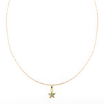 Star Pendant Raw Emerald Bronze & 24k Gold Plated Necklace