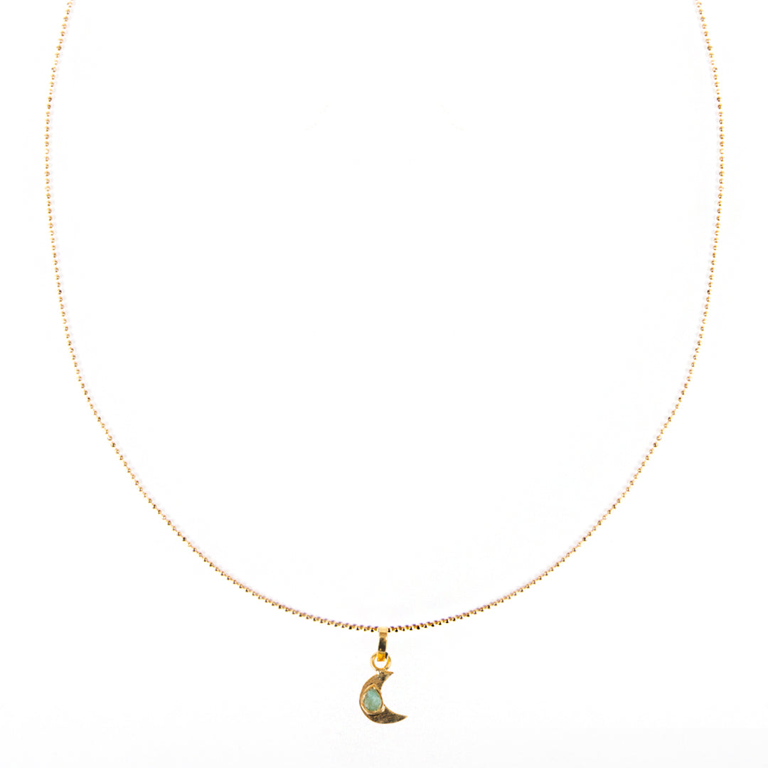 Moon Pendant Raw Emerald Bronze & 24k Gold Plated Necklace