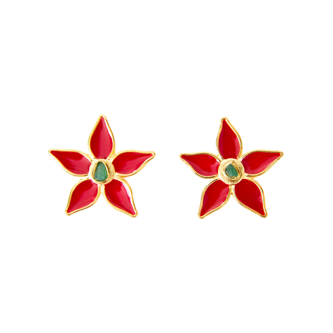 Red Flower Power Fiore Collection Earrings - TAO Company Jewelry by Vanessa Arcila