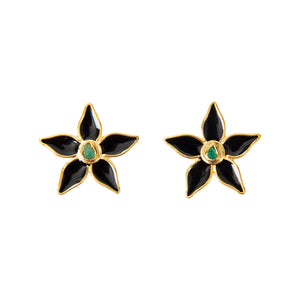 Black Flower Power Fiore Collection Earrings - TAO Company Jewelry by Vanessa Arcila