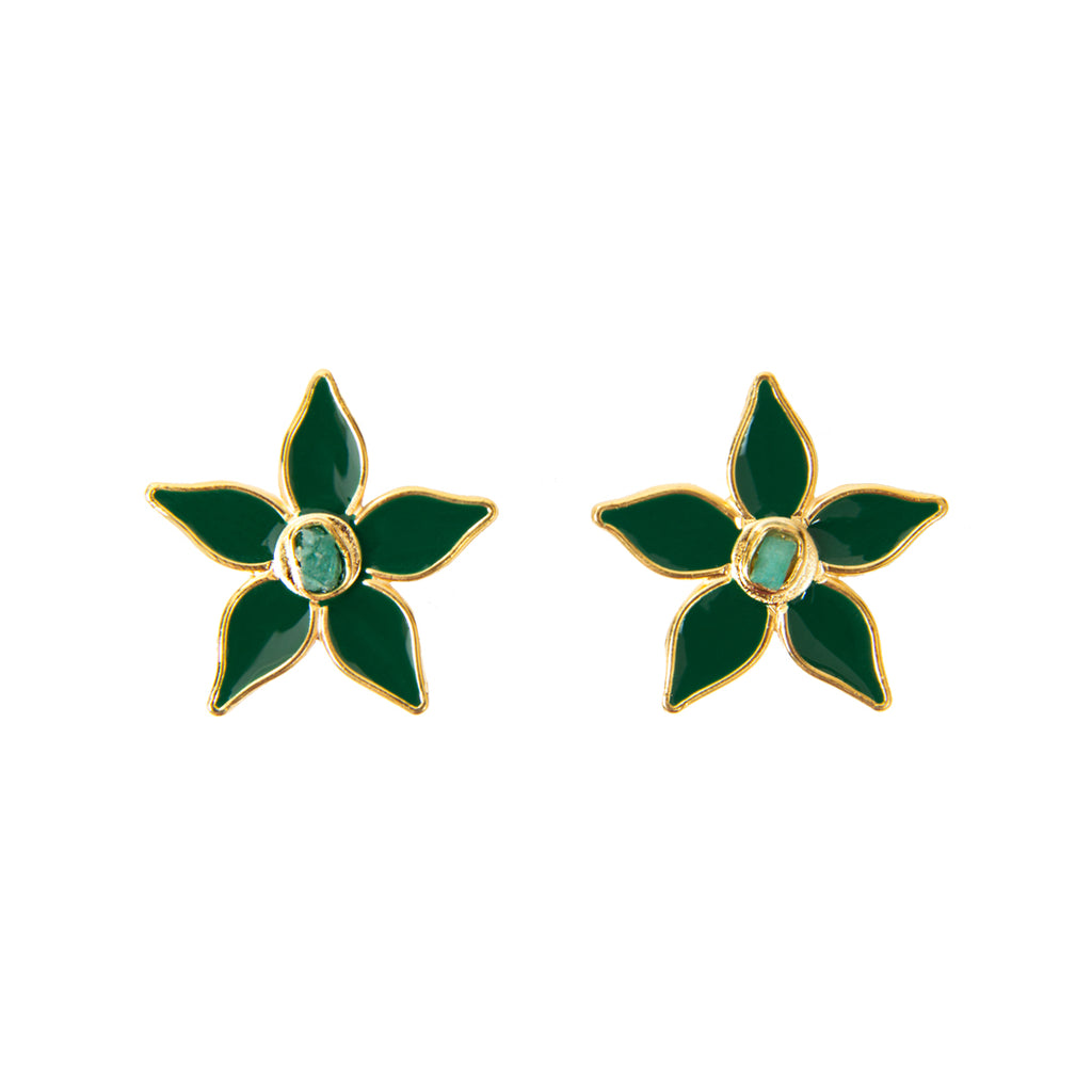 Green Flower Power Fiore Collection Earrings - TAO Company Jewelry by Vanessa Arcila