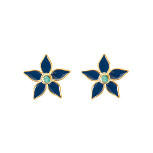 Blue Flower Power Fiore Collection Earrings - TAO Company Jewelry by Vanessa Arcila