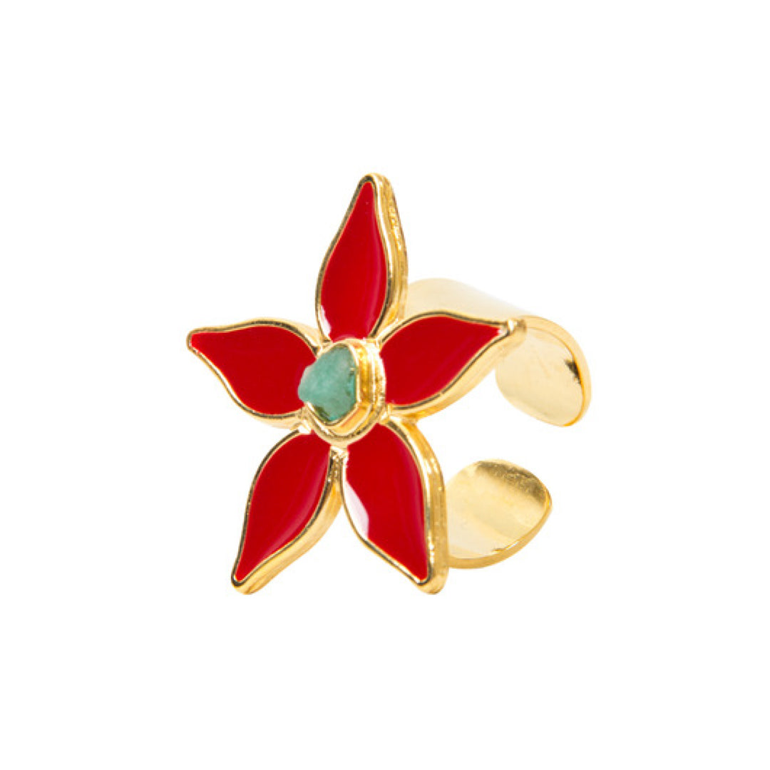 Red Flower Power Fiore Collection Ring - TAO Company Jewelry by Vanessa Arcila