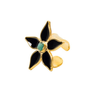 Black Flower Power Fiore Collection Ring - TAO Company Jewelry by Vanessa Arcila