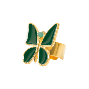 Green Butterfly Effect Fiore Collection Ring - TAO Company Jewelry by Vanessa Arcila