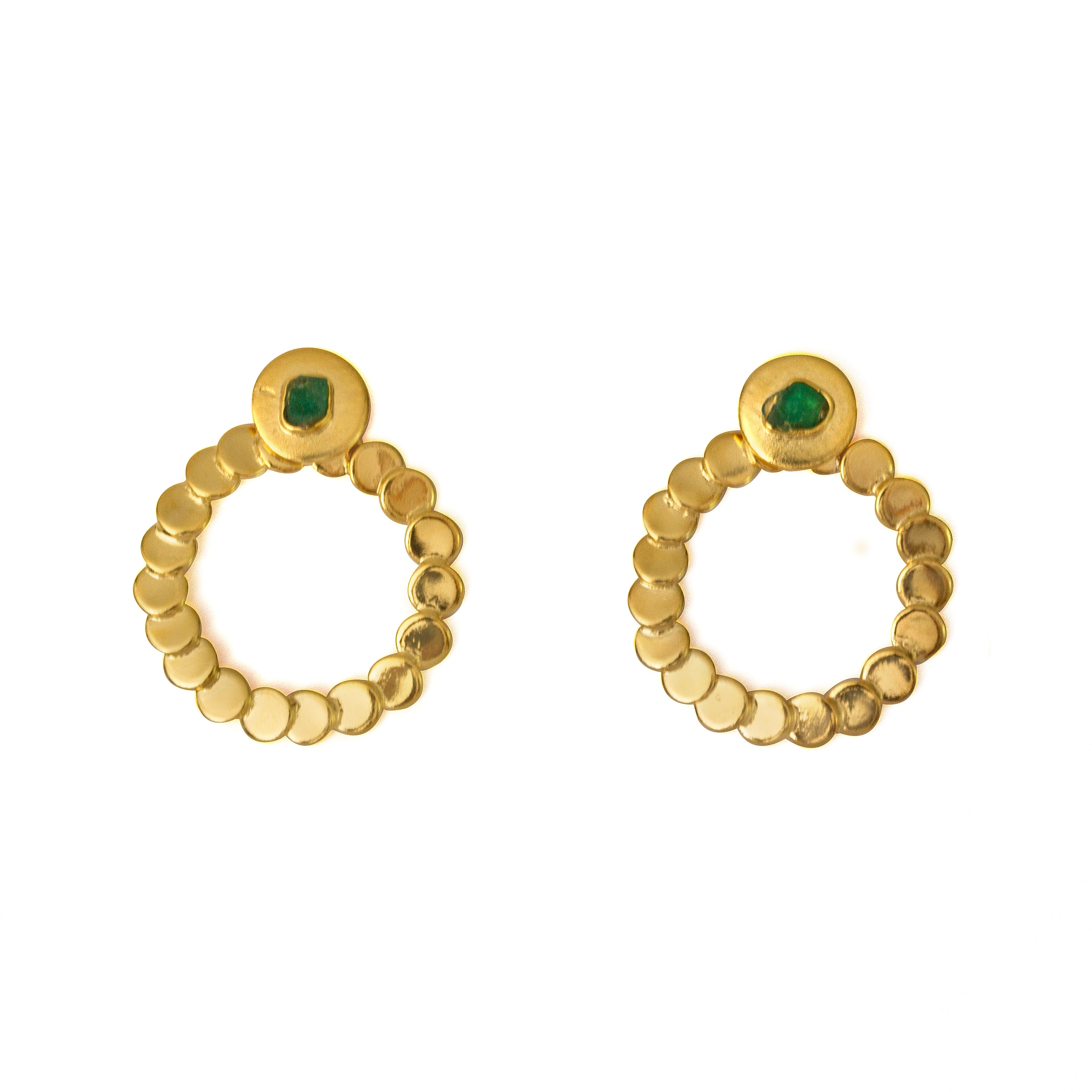 Abigail Raw Emerald Bronze & 24k Gold Plated Earrings