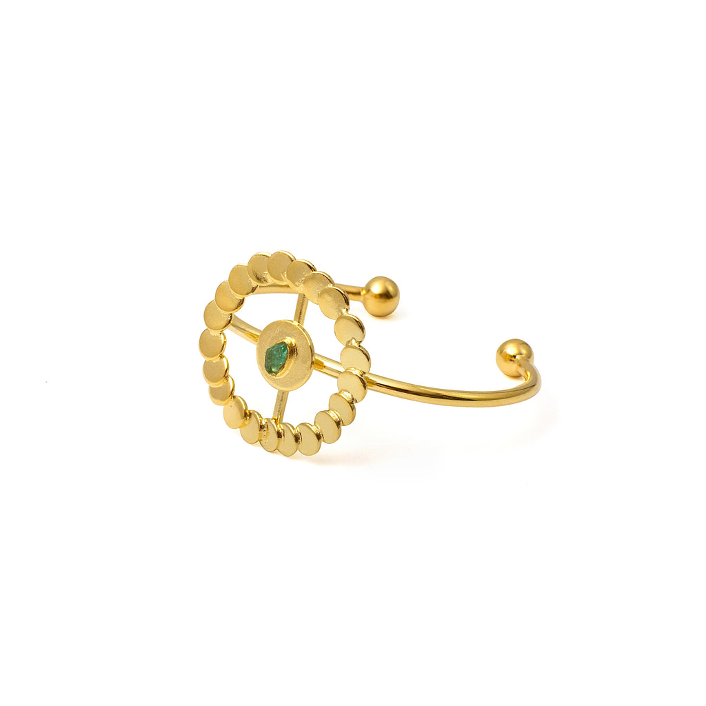 Abigail Raw Emerald Bronze & 24k Gold Plated Bracelet