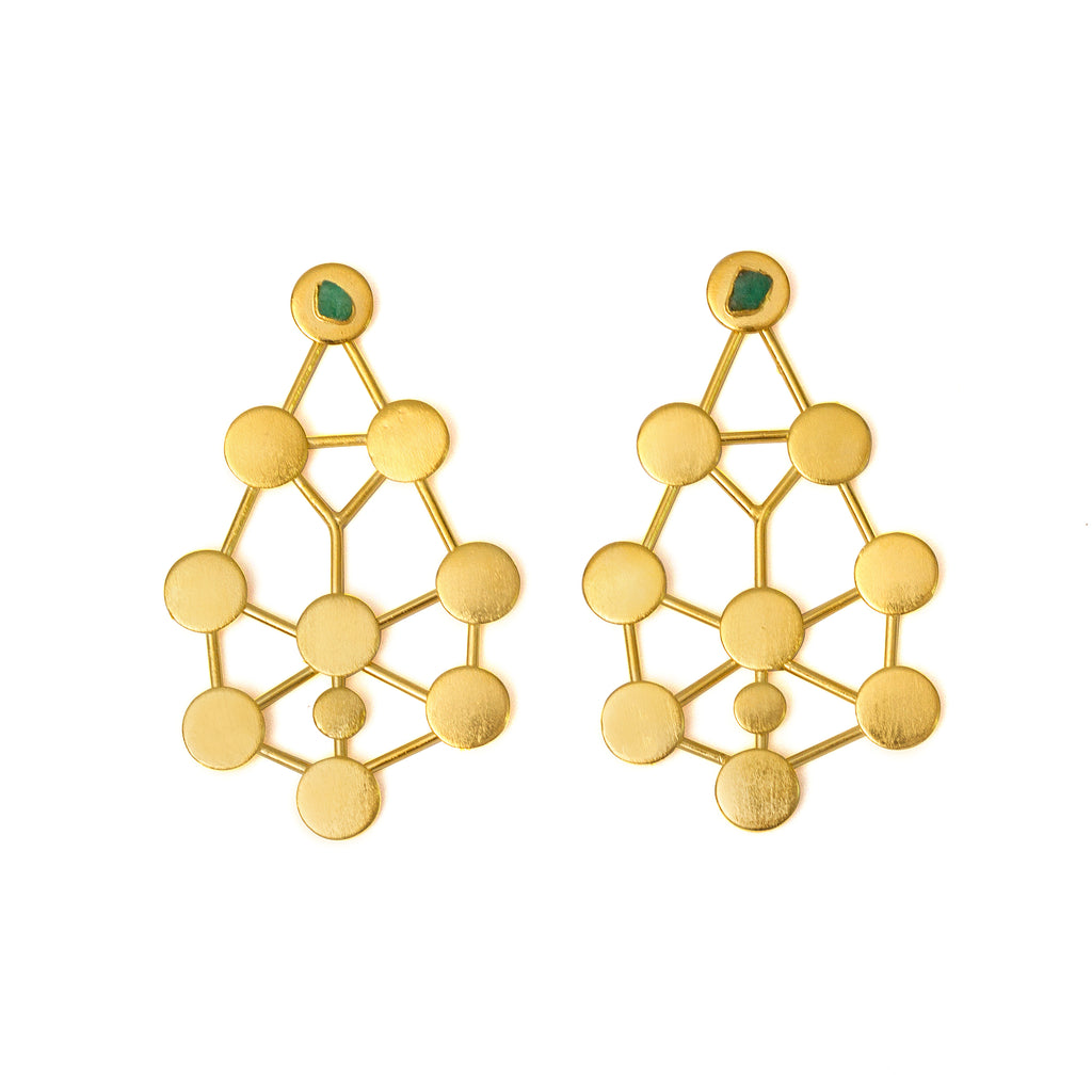 Celeste Raw Emerald Bronze & 24k Gold Plated Earrings