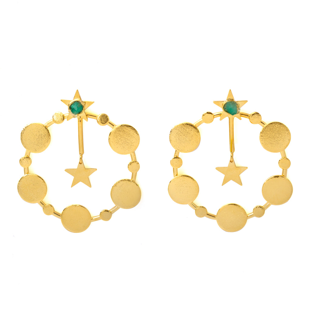 Estrella Raw Emerald Bronze & 24k Gold Plated Earrings