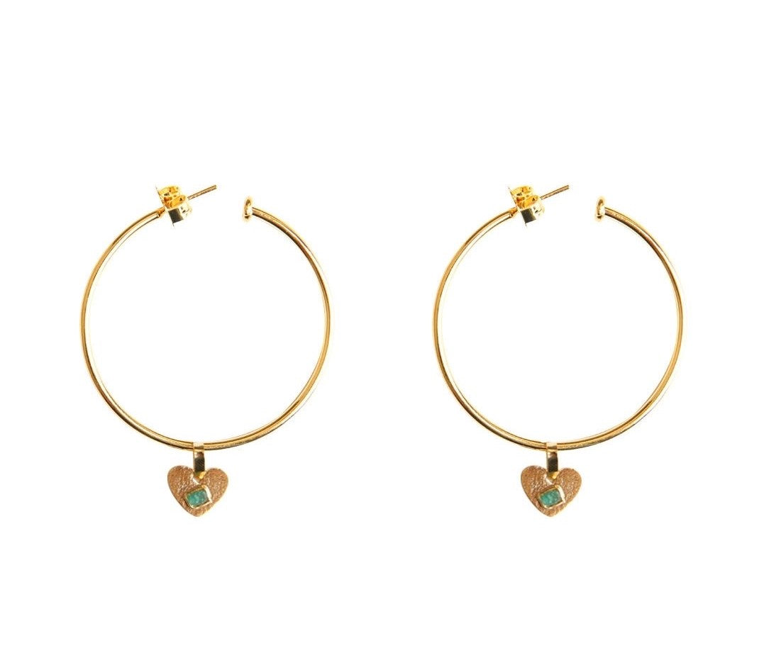 Simple Heart Raw Emerald Bronze & 24k Gold Plated Earrings