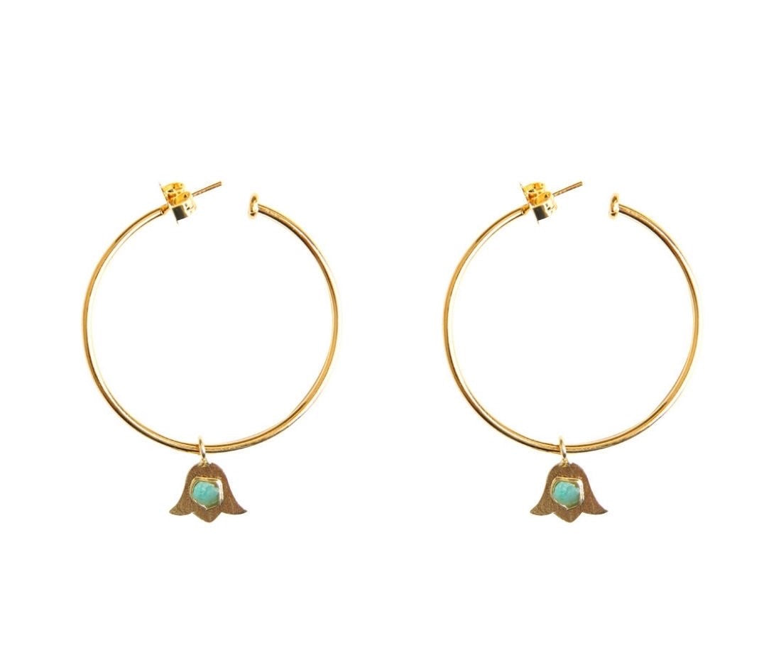 Simple Flower Raw Emerald Bronze & 24k Gold Plated Earrings