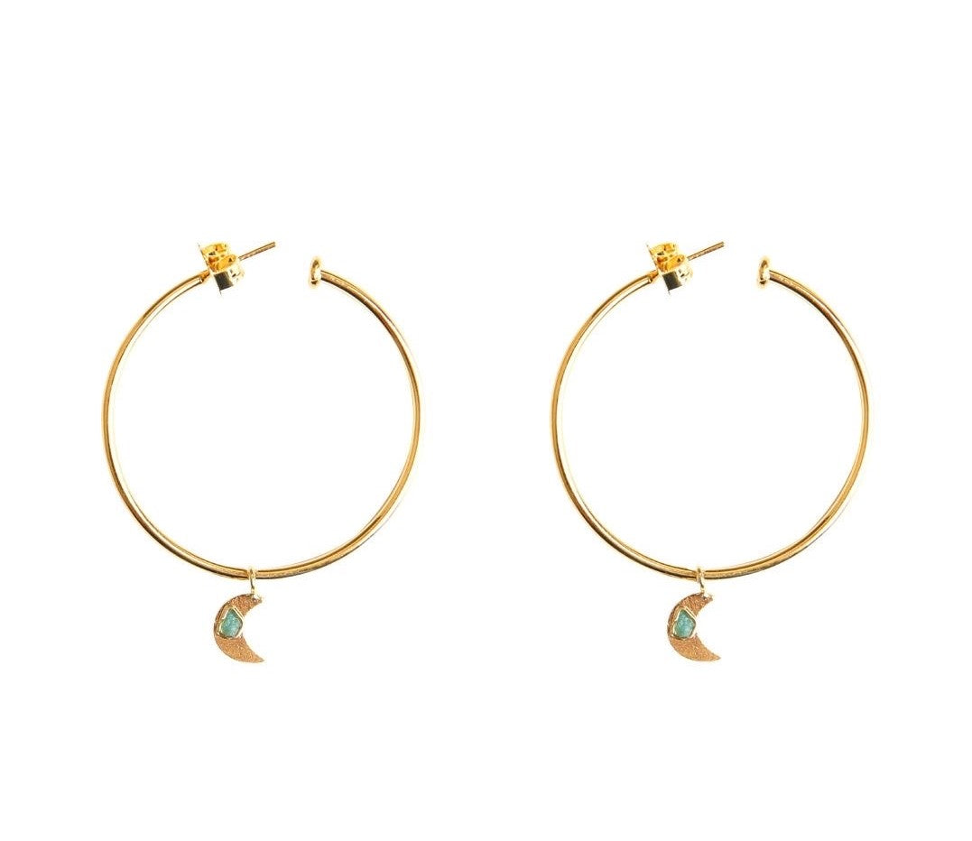 Simple Moon Raw Emerald Bronze & 24k Gold Plated Earrings